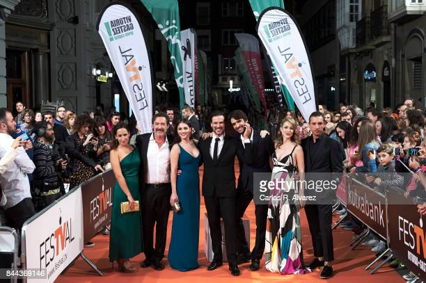 Actors Julia Carnero Gines Garcia Millan Andrea Duro Daniel Grao Aitor Luna Silvia Abascal and Pablo Derqui attend the 'La Catedral del Mar' premiere...