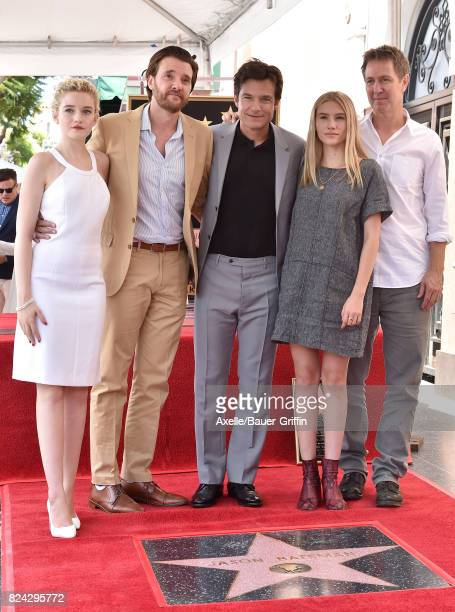 Actors Julia Garner Jason Butler Harner Jason Bateman Sofia Hublitz and guest attend the ceremony honoring Jason Bateman with Star on the Hollywood...