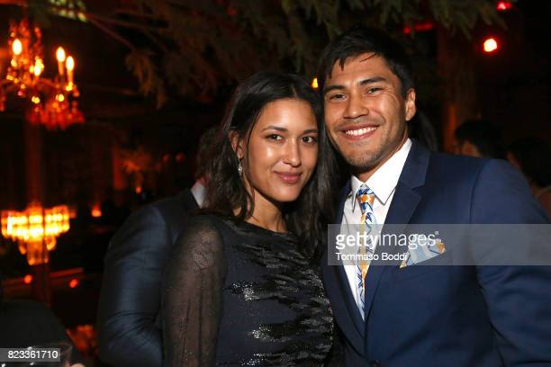 Actors Julia Jones and Martin Sensmeier attend the after party for 'Wind River' Los Angeles Premiere presented in partnership with FIJI Water at...