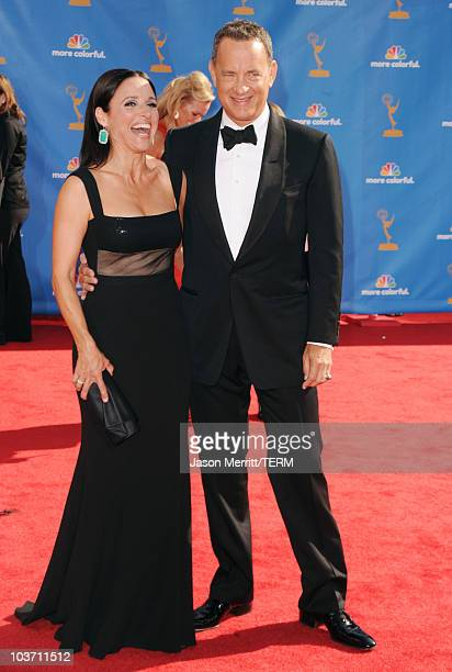 Actors Julia LouisDreyfus and Tom Hanks arrive at the 62nd Annual Primetime Emmy Awards held at the Nokia Theatre LA Live on August 29 2010 in Los...