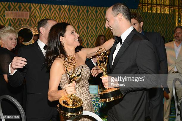 Actors Julia LouisDreyfus and Tony Hale attend HBO's official Emmy after party in The Plaza at the Pacific Design Center on September 22 2013 in Los...