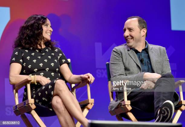 Actors Julia LouisDreyfus and Tony Hale speak onstage at 'Featured Session 'VEEP' Cast' during 2017 SXSW Conference and Festivals at Austin...