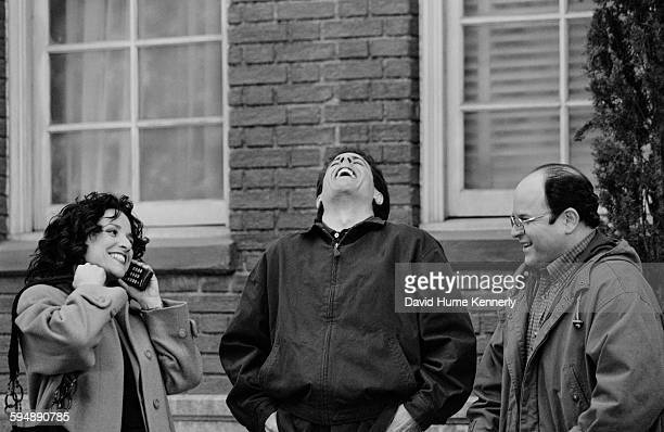 """Actors Julia Louis-Dreyfus, Jerry Seinfeld, and Jason Alexander talk in between filming the last episode of the hit television show """"Seinfeld,"""" April..."""