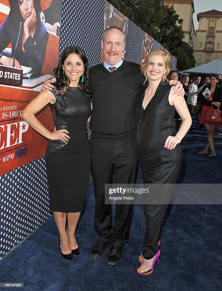Actors Julia Louis-Dreyfus, Matt Walsh and Anna Chlumsky attend the Los Angeles premiere for the second season of HBO's series 'Veep' at Paramount Studios on April 9, 2013 in Hollywood, California.