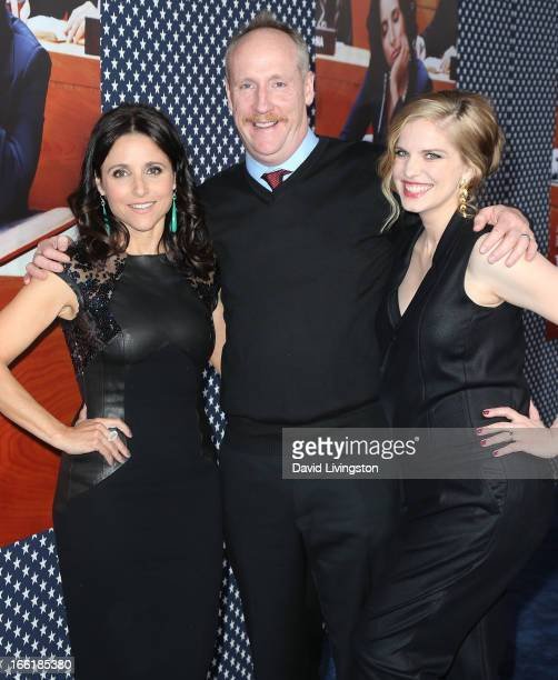 Actors Julia LouisDreyfus Matt Walsh and Anna Chlumsky attend the premiere of HBO's VEEP Season 2 at Paramount Studios on April 9 2013 in Hollywood...
