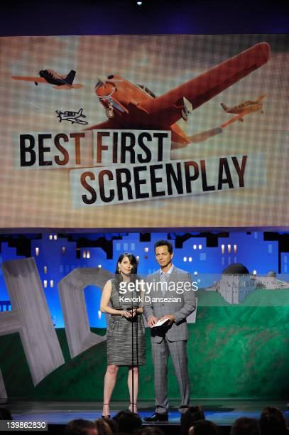 Actors Julia Ormond and Benjamin Bratt speak onstage at the 2012 Film Independent Spirit Awards held at the Santa Monica Pier on February 25 2012 in...