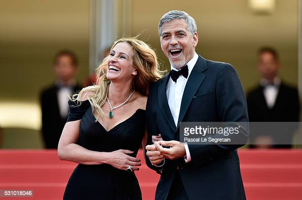 "Actors Julia Roberts and George Clooney attend the ""Money Monster"" premiere during the 69th annual Cannes Film Festival at the Palais des Festivals..."