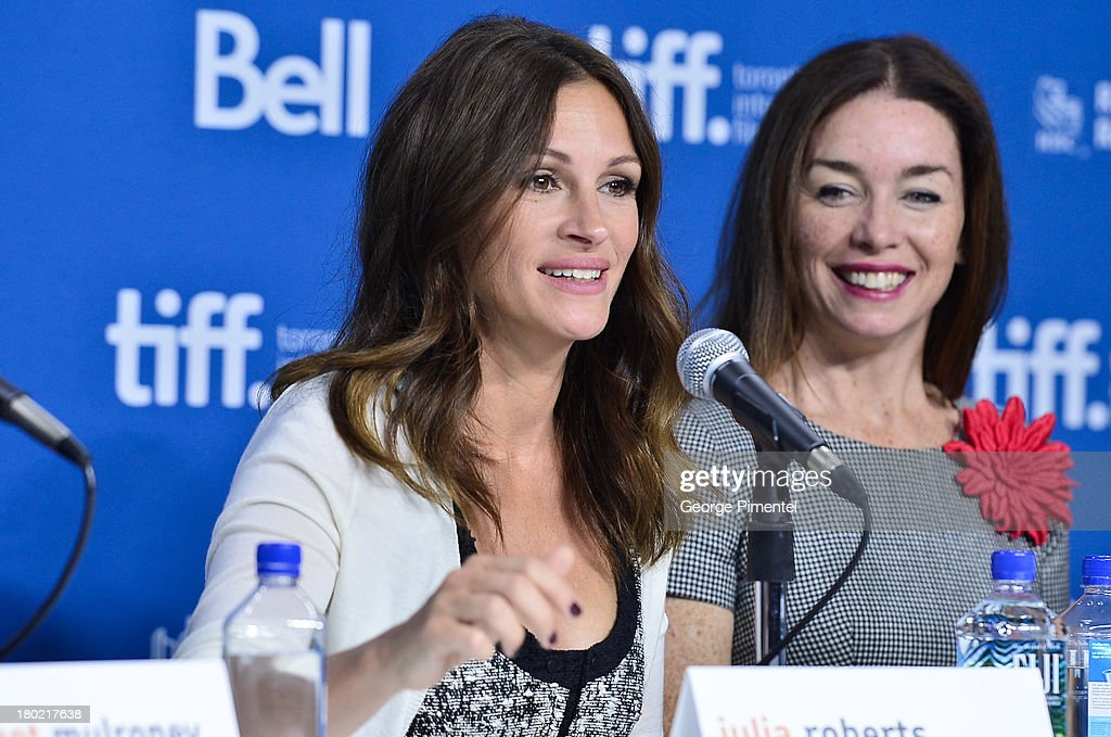 Actors Julia Roberts and Julianna Nicholson speak at the 'August: Osage County' Press Conference during the 2013 Toronto International Film Festival at TIFF Bell Lightbox on September 10, 2013 in Toronto, Canada.