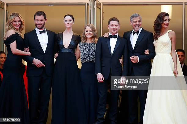 Actors Julia Roberts Dominic West Caitriona Balfe producer Jodie Foster actors Jack O'Connell George Clooney and his wife Amal Clooney attend the...