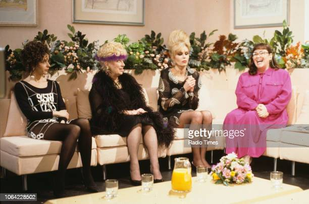 Actors Julia Sawalha June Whitfield Joanna Lumley and Dawn French in a chat show scene from episode 'Magazine' of the BBC television sitcom...