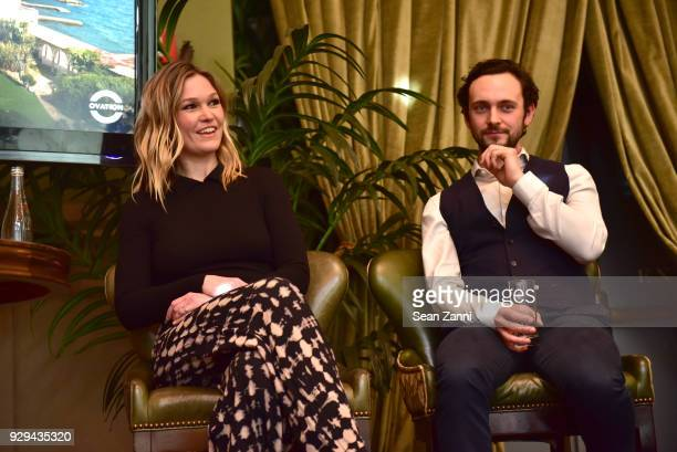 Actors Julia Stiles and George Blagden speak on stage as Ovation TV hosts 20182019 Programming Preview at Soho Grand Hotel on March 8 2018 in New...