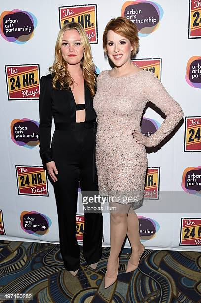 Actors Julia Stiles and Molly Ringwald attend Urban Arts Partnership at the 15th annual The 24 Hour Plays On Broadway after party at BB King on...