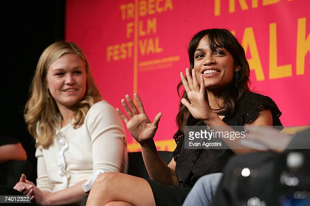 Actors Julia Stiles and Rosario Dawson speak during the Bringing Home The Bacon panel discussion at the 2007 Tribeca Film Festival on April 27 2007...