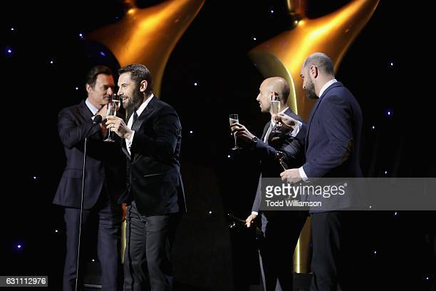 Actors Julian McMahon and Daniel MacPherson on stage with producers Fred Berger and Jordan Horowitz at The 6th AACTA International Awards on January...