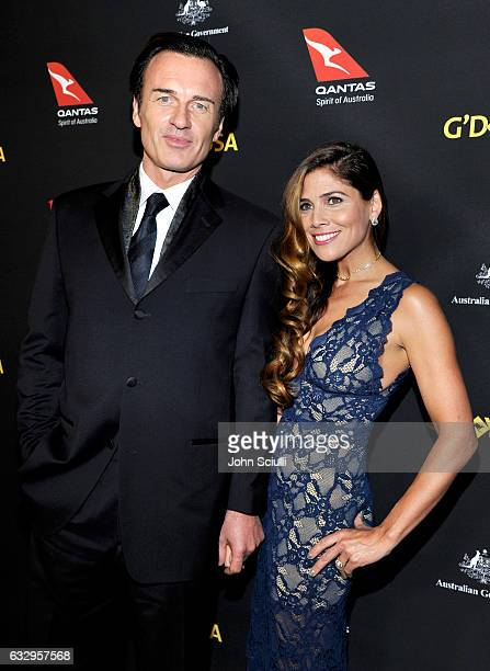 Actors Julian McMahon and Kelly Paniagua attend the 2017 G'Day Black Tie Gala at Governors Ballroom At Hollywood And Highland on January 28 2017 in...