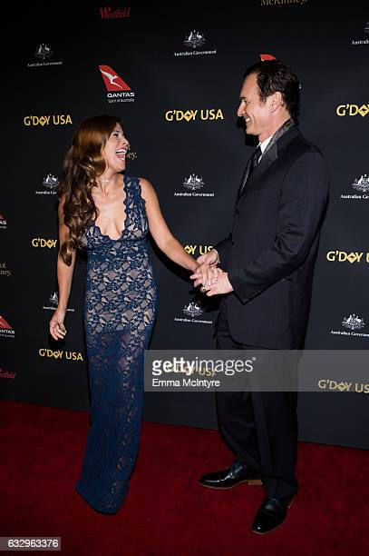 Actors Julian McMahon and Kelly Paniagua attend the 2017 G'Day Black Tie Gala at The Ray Dolby Ballroom at Hollywood Highland Center on January 28...