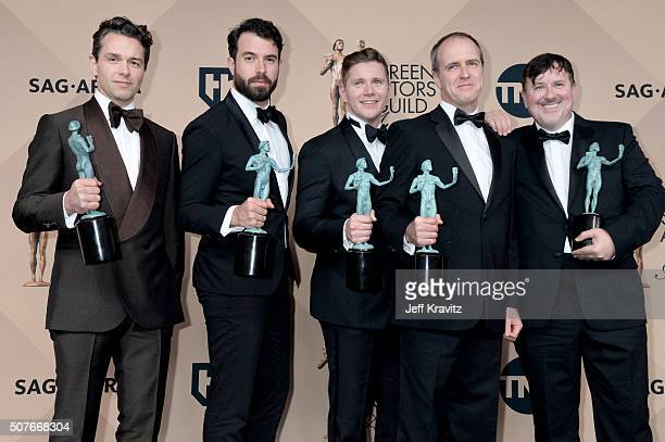 Actors Julian Ovenden, Tom Cullen, Allen Leech, Kevin Doyle, and Jeremy Swift, winners of the Outstanding Performance by an Ensemble in a Drama...