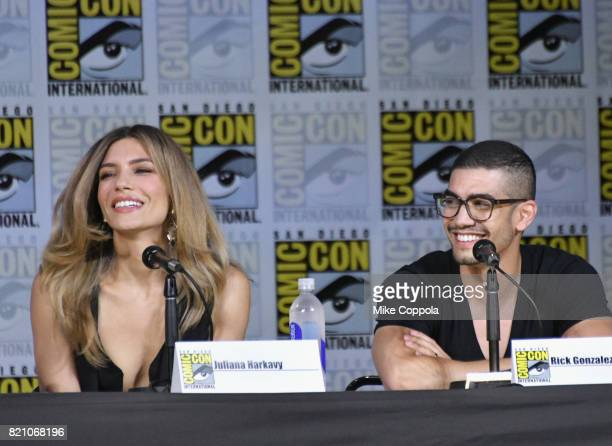 Actors Juliana Harkavy and Rick Gonzalez attend the 'Arrow' Video Presentation And QA during ComicCon International 2017 at San Diego Convention...