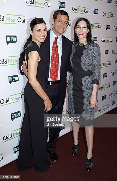 Actors Julianna Margulies Andy Buckley and Jill Kargman attend the Bravo Presents a special screening of Odd Mom Out at Florence Gould Hall on June 3...
