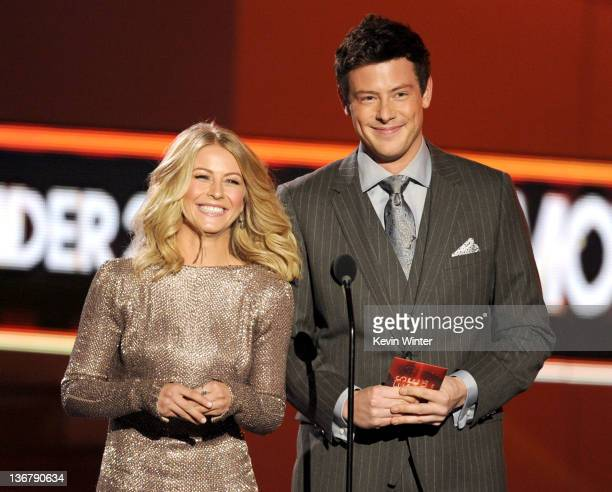 Actors Julianne Hough and Cory Monteith speak onstage at the 2012 People's Choice Awards at Nokia Theatre LA Live on January 11 2012 in Los Angeles...