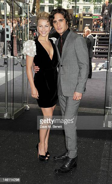 Actors Julianne Hough and Diego Boneta attend the European Premiere of 'Rock Of Ages' at Odeon Leicester Square on June 10 2012 in London England