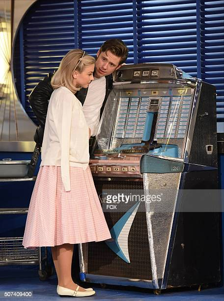 LIVE Actors Julianne Hough as 'Sandy' and Aaron Tveit as 'Danny Zuko' during the dress rehearsal for GREASE LIVE airing LIVE Sunday Jan 31 on FOX