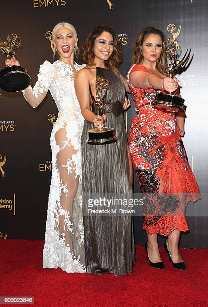Actors Julianne Hough Vanessa Hudgens and Kether Donohue winners of Outstanding Special Class Program for Grease Live pose in the press room during...