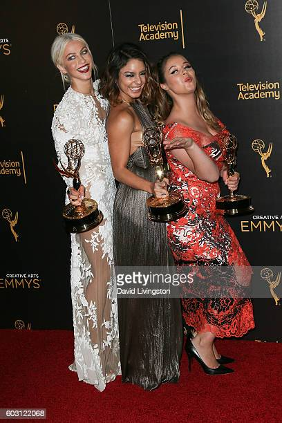 Actors Julianne Hough Vanessa Hudgens and Kether Donohue winners of Outstanding Special Class Program for Grease Live pose in the 2016 Creative Arts...