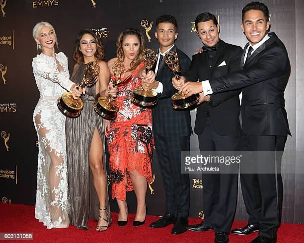 Actors Julianne Hough Vanessa Hudgens Kether Donohue Jordan Fisher David Del Rio and Carlos PenaVega attend the press room on day 2 of the 2016...