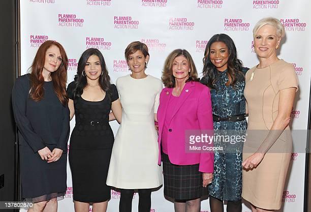 Actors Julianne Moore America Ferrera Glamour magazine editorinchief Cindi Leive Congresswoman Shelley Berkley actress Gabrielle Union and Planned...