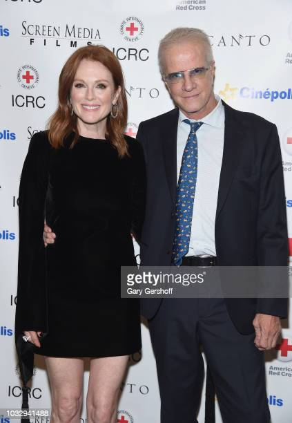 Actors Julianne Moore and Christopher Lambert attend the 'Bel Canto' New York premiere at Cinepolis Chelsea on September 13 2018 in New York City