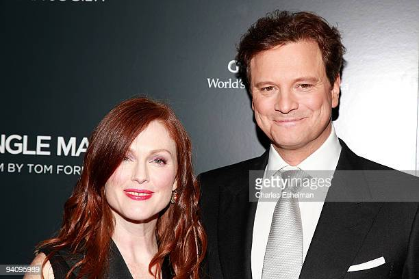 Actors Julianne Moore and Colin Firth attend a screening of A Single Man hosted by the Cinema Society and Tom Ford at The Museum of Modern Art on...
