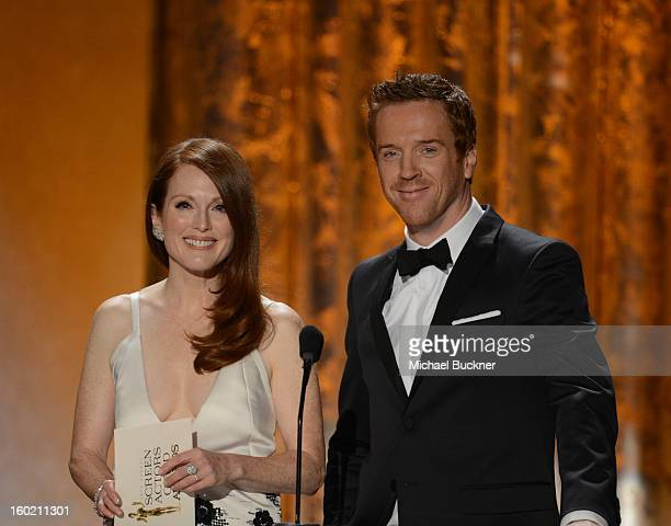 Actors Julianne Moore and Damian Lewis attend the 19th Annual Screen Actors Guild Awards at The Shrine Auditorium on January 27 2013 in Los Angeles...