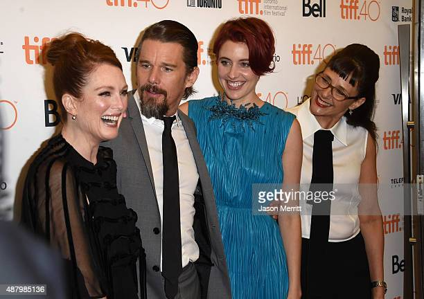 Actors Julianne Moore Ethan Hawke Greta Gerwig and Director/Writer Rebecca Miller attend the Maggie's Plan premiere during the 2015 Toronto...