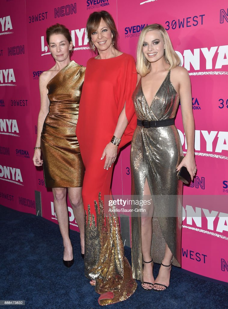 Actors Julianne Nicholson, Allison Janney and Margot Robbie attend the Los Angeles premiere of 'I, Tonya' at the Egyptian Theatre on December 5, 2017 in Hollywood, California.