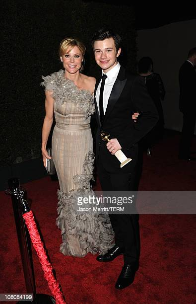 Actors Julie Bowen and Chris Colfer arrives at the Fox Searchlight 2011 Golden Globe Awards Party held at The Beverly Hilton hotel on January 16 2011...