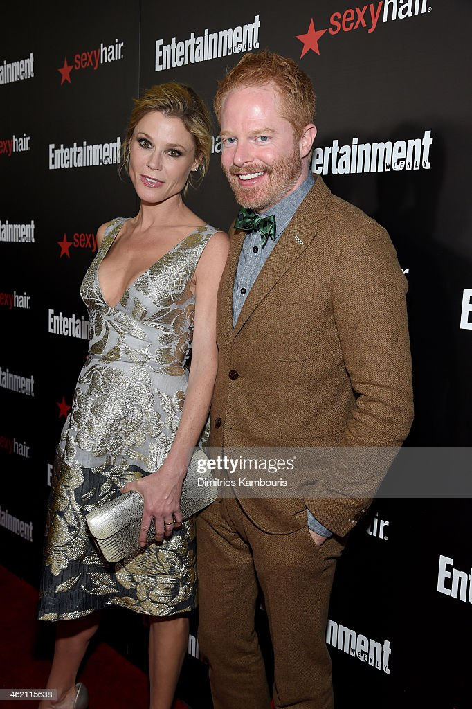 Actors Julie Bowen (L) and Jesse Tyler Ferguson attend Entertainment Weekly's celebration honoring the 2015 SAG awards nominees at Chateau Marmont on January 24, 2015 in Los Angeles, California.