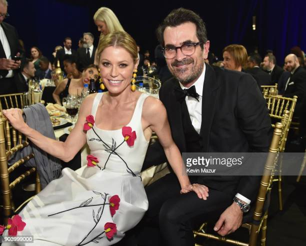 Actors Julie Bowen and Ty Burrell attend The 23rd Annual Critics' Choice Awards at Barker Hangar on January 11 2018 in Santa Monica California