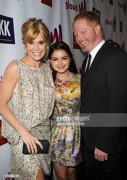 Actors Julie Bowen, Ariel Winter, and Jesse Tyler Ferguson arrive at the 22nd Annual GLAAD Media Awards presented by ROKK Vodka at Los Angeles'...