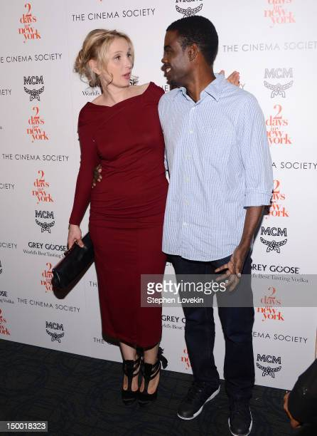 Actors Julie Delpy and Chris Rock attend The Cinema Society special screening of Two Days In New York at Landmark Sunshine Cinema on August 8 2012 in...