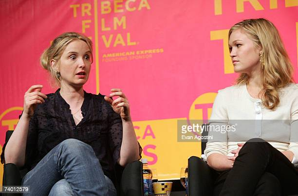 Actors Julie Delpy and Julia Stiles speak during the Bringing Home The Bacon panel discussion at the 2007 Tribeca Film Festival on April 27 2007 in...