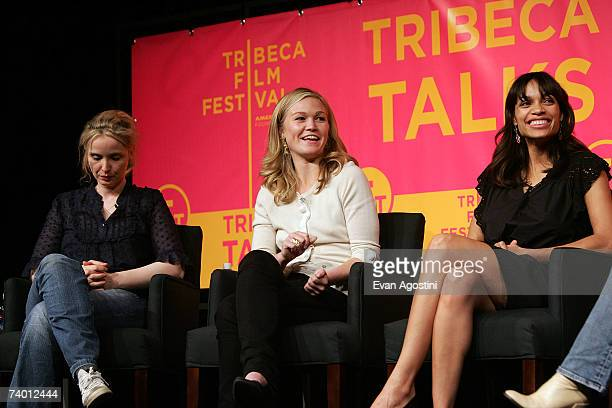 Actors Julie Delpy Julia Stiles and Rosario Dawson speak during the Bringing Home The Bacon panel discussion at the 2007 Tribeca Film Festival on...