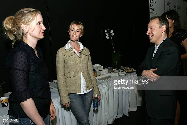 Actors Julie Delpy Mary Stuart Masterson and moderator Jacob Weisberg speak backstage before the Bringing Home The Bacon panel discussion at the 2007...