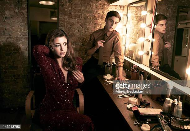 Actors Julie Dray and Jack Farthing are photographed for ES magazine on October 5 2011 in London England