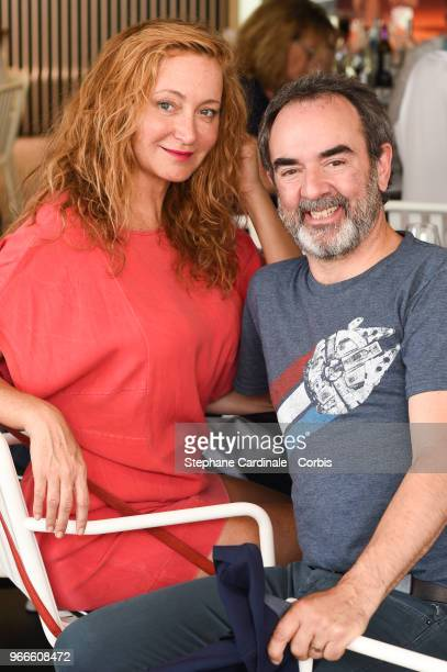 Actors Julie Ferrier and Bruno Solo attend the 2018 French Open - Day Eight at Roland Garros on June 3, 2018 in Paris, France.