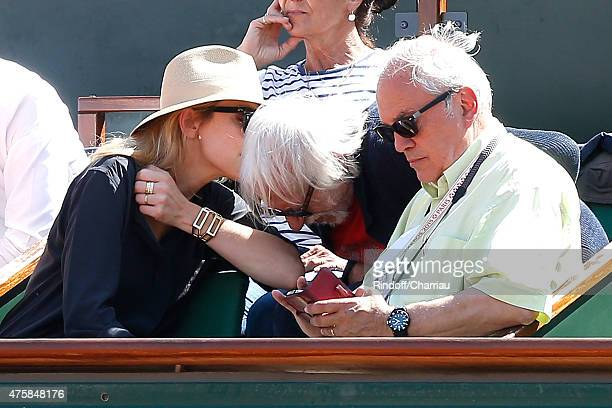 Actors Julie Gayet Pierre Richard and Managing editor and publishing of 'Tennis Magazine' Jean Couvercelle attend the 2015 Roland Garros French...