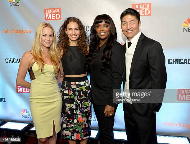 Actors Julie Marie Berman Rachel DiPillo Marlyne Barrett and Brian Tee attend a premiere party for NBC's 'Chicago Fire' 'Chicago PD' and 'Chicago...