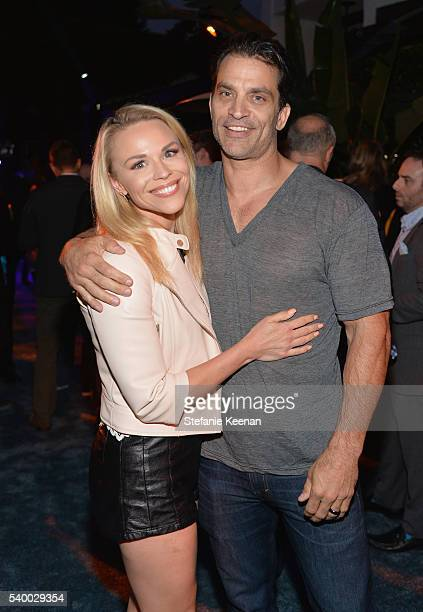 Actors Julie Solomon and Johnathon Schaech attend Take-Two's Annual E3 Kickoff Party at Cecconi's Restaurant on June 13, 2016 in Los Angeles,...