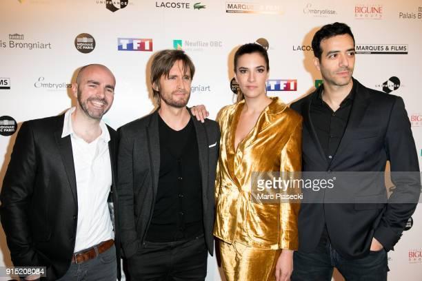 Actors Julien Arruti Philippe Lacheau Charlotte Gabris and Tarek Boudali attend the 'Trophees du Film Francais' 25th ceremony at Palais Brongniart on...