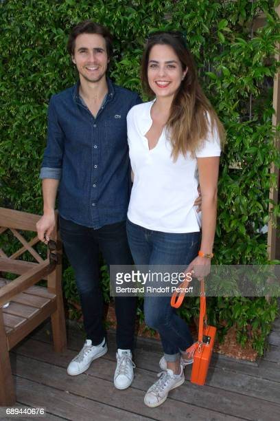 Actors Julien Dereins and Anouchka Delon attend the 2017 French Tennis Open Day One at Roland Garros on May 28 2017 in Paris France